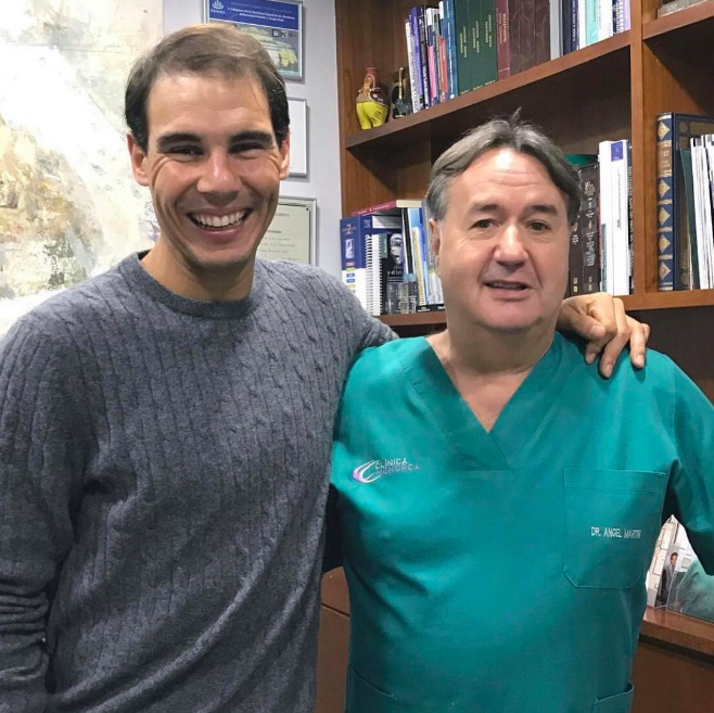 Foto de Rafa Nadal tras el trasplante capilar